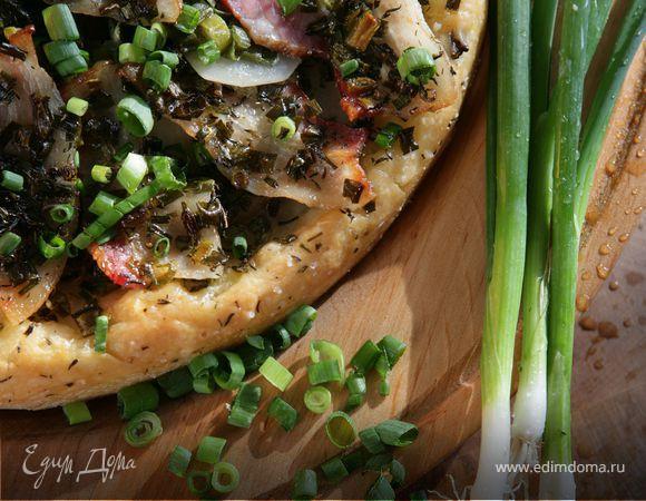 Пицца с зеленым луком и тимьяном