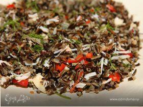 Салат из черного риса с крабами