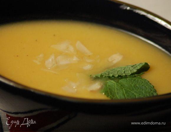 Тыквенный суп-крем с миндалём