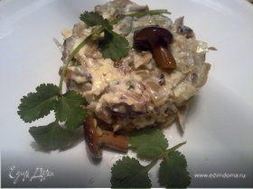Грузинский салат с солеными грибами