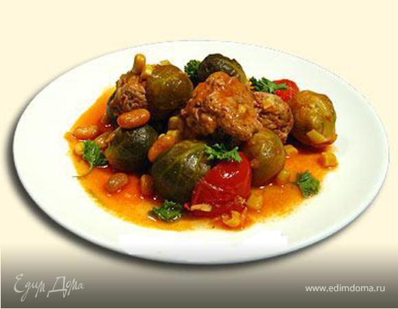 Брюссельськая капуста с тефтельками в соусе ⎝⏠⏝⏠⎠