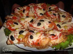 Шницель из телятины с помидором под сыром