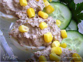 Яйца, фаршированные печенью и кукурузой