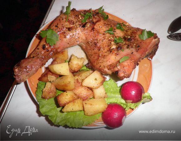 Запеченые куриные окорочка с картофелем