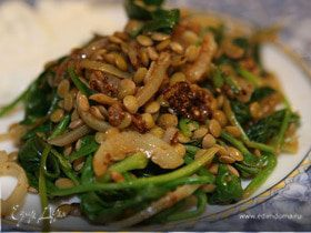 Чечевица со шпинатом, тмином и кориандром