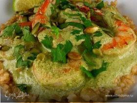 Креветки в соусе из тыквенных семечек