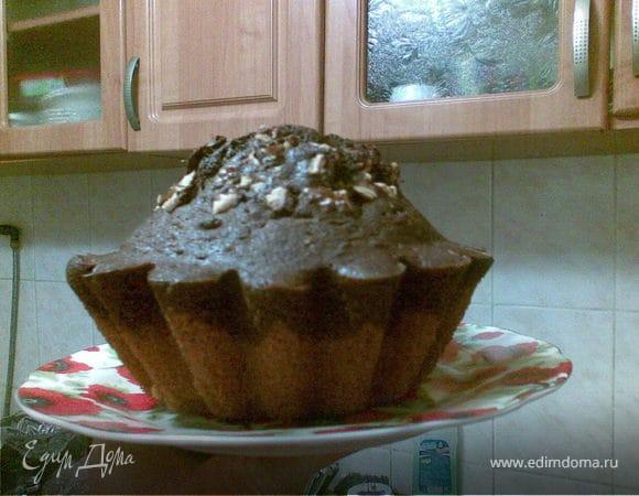 Ванильно-шоколадный кекс с орехами