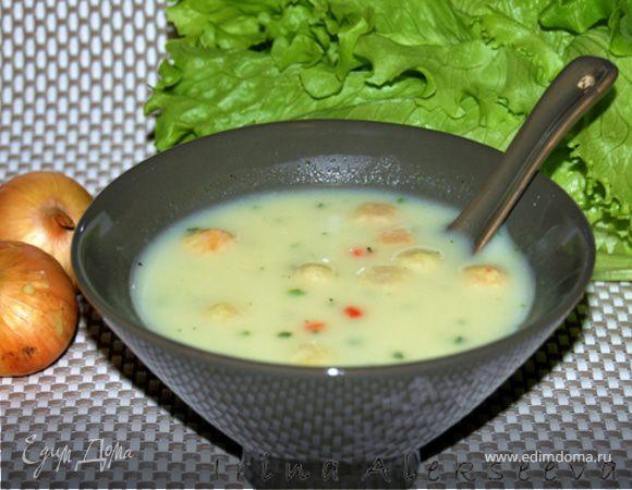 Крем-суп сырный с гренками