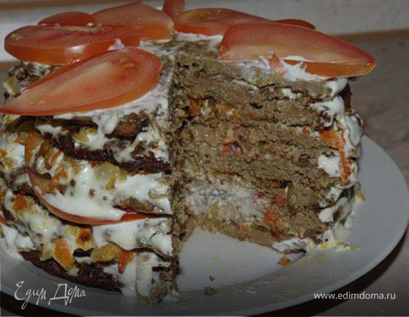 Печёночный тортик с помидорками