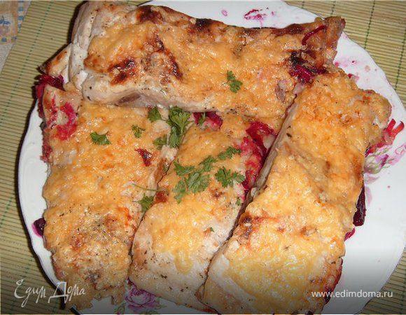 Рыба запеченная со свеклой и сыром
