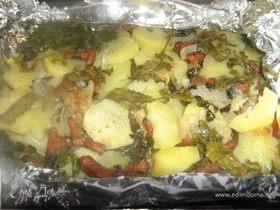 Картофель с руколой и лисичками