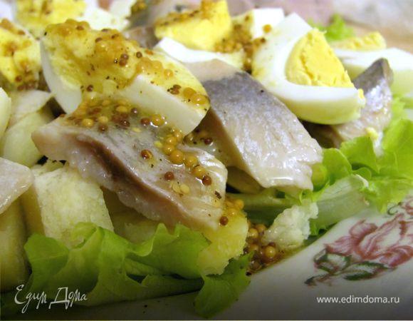 Салат с сельдью и горчичной заправкой