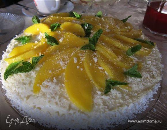 Мангово-творожный торт