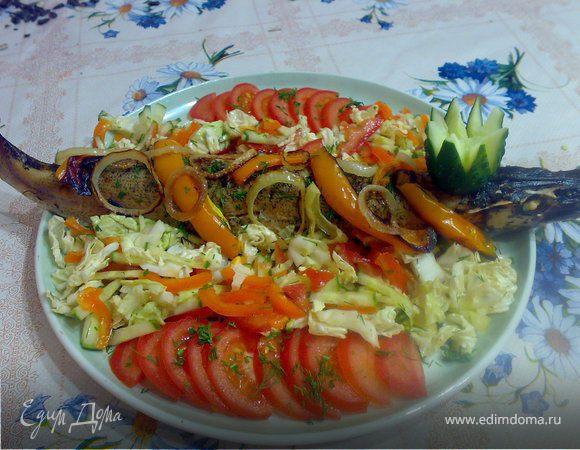 Щука фаршированная картофелем,чесноком и укропом