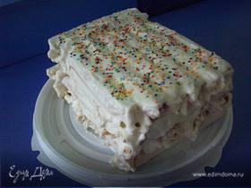 Тортик из вафельных трубочек со сгущенкой