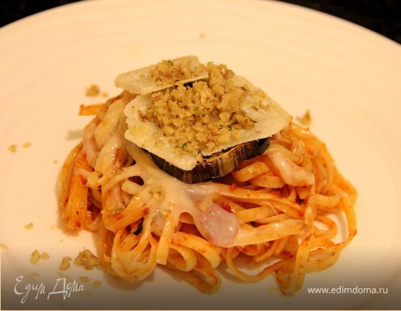 Тимбаллини из спагетти с баклажанами