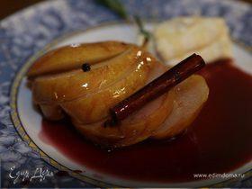 Груши в красном вине с маскарпоне и медом