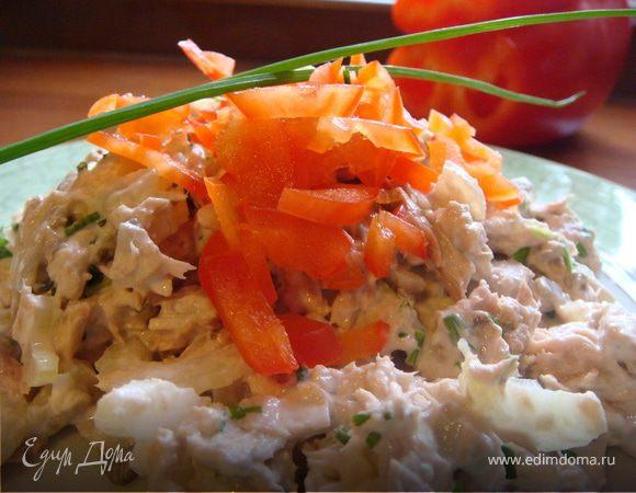 Салат с тунцом и сырыми шампиньонами