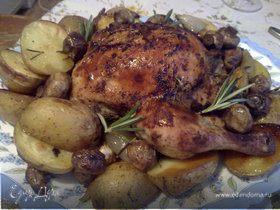 Курица в паприке с картофелем и грибами