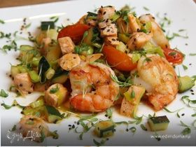Пикантные креветки с лососем и овощами! И 356 ккал в 1 порции:-)