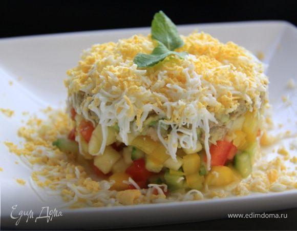 Овощной салат с тунцом, яйцом и авокадо! 301 ккал в 1 порции:-)