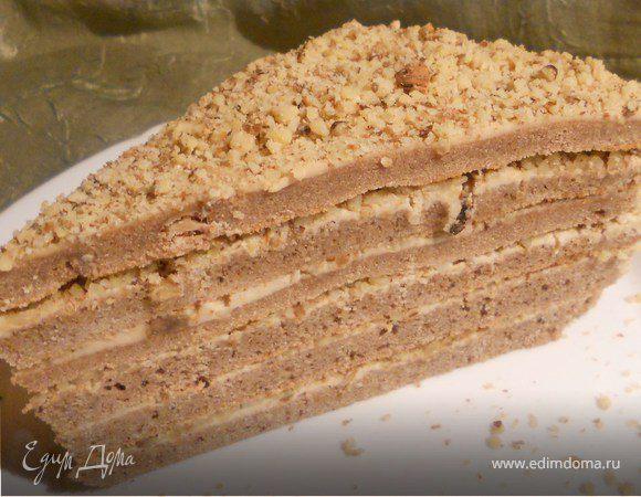 Торт с кофейным маскарпоне и грецкими орехами