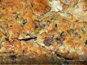 Закусочный заварной пирог с грибами и курицей
