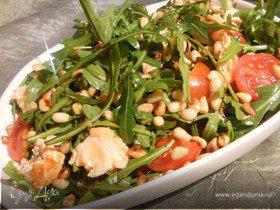 Салат для Симы с руколой, семгой и грейпфрутовой заправкой