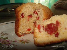 Творожный кекс с вяленой вишней