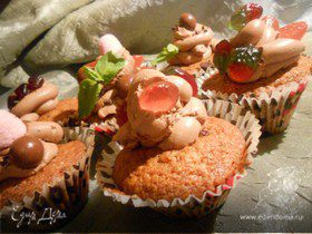 Шоколадные капкейки с вяленой клюквой