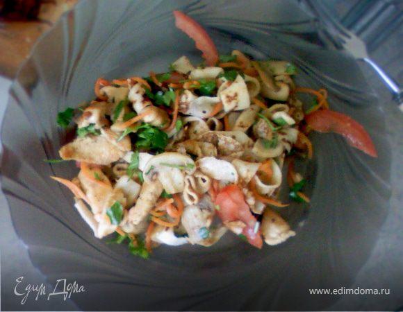 Тёплый салат с блинами, грибами и курицей.