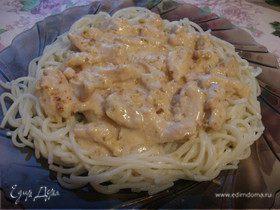 Спагетти с курицей под сырным соусом ВИОЛА