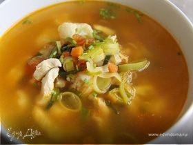 Куриный суп с цветной капустой и томатами! и Всего 224 ккал. в 1 порции:-)