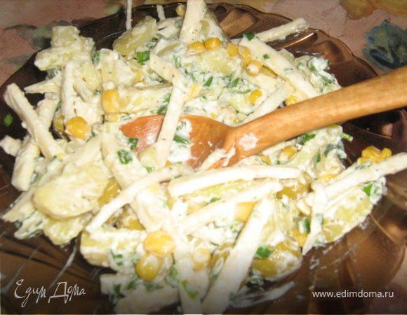 Картофельный салат с чесночным крем-соусом
