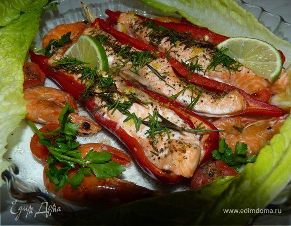 Красный перец с лососем, лимоном, тимьяном