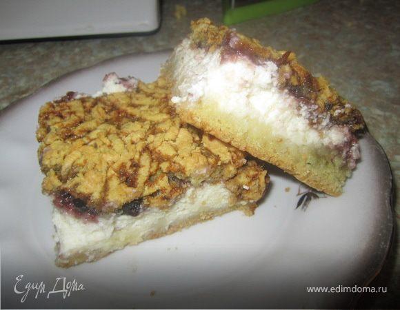 Тертый пирог с творогом.
