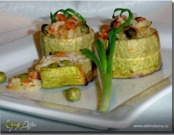 Бочонки из кабачков, фаршированные рисом и овощами