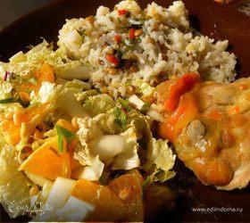 Салат с мангольдом + курочка + рис с чечевицей