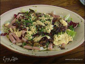 Салат с грибами, сыром и бужениной