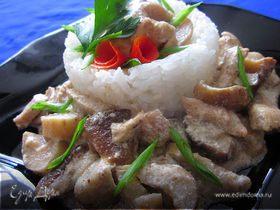 Куриная грудка с белыми грибами