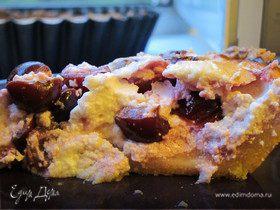 Творожный пирог с вишней и легким песочным тестом