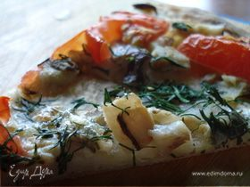 Пицца а-ля рус с белыми грибами и укропом