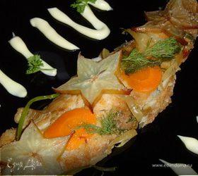 Рыба , запеченная под соевым соусом с карамболой