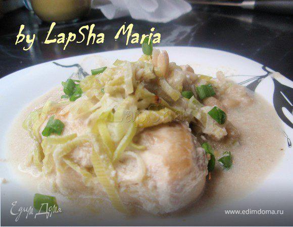 Куриное филе запеченное с белой фасолью и луком-порей