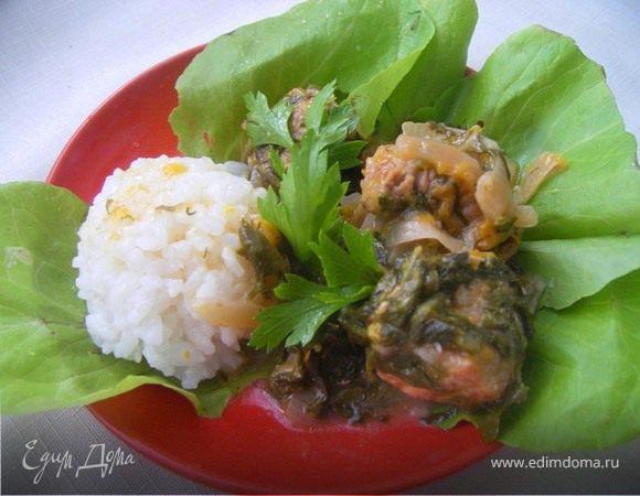 Свинина со сливами , шпинатом и чесноком, для Мария (LapSha)