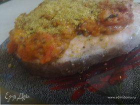Паровая семга с фисташково-креветочным соусом