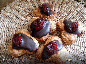 Медовые пряники с шоколадом и вяленой клюквой