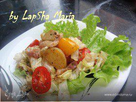 Теплый салат с панчеттой, картофелем и помидорами черри