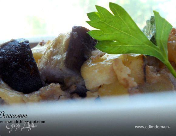 Фриттата с картофелем, баклажанами и грецкими орехами
