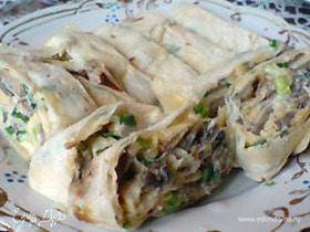 Рецепт лаваша с грибами и сыром